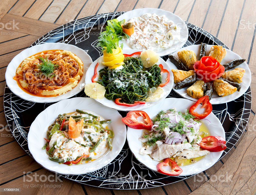 Turkish traditional appetizer food on the restaurant table stock photo