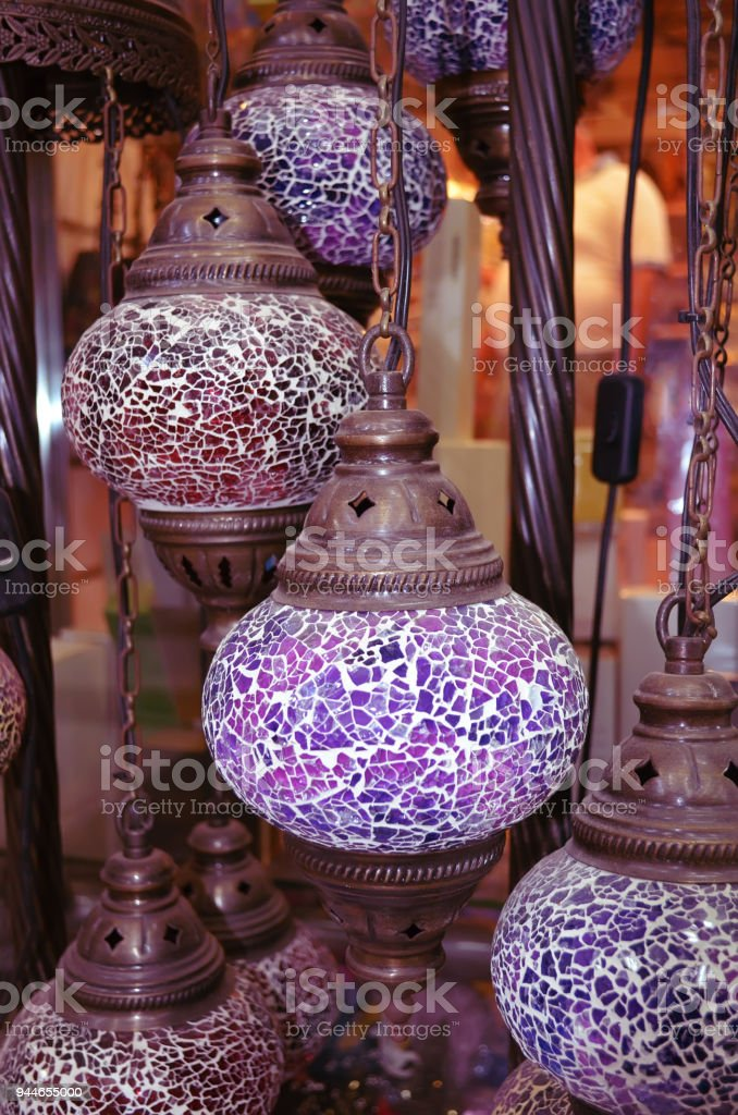 Turkish Traditional Colored Glass Craft Lights Grand Market Istanbul