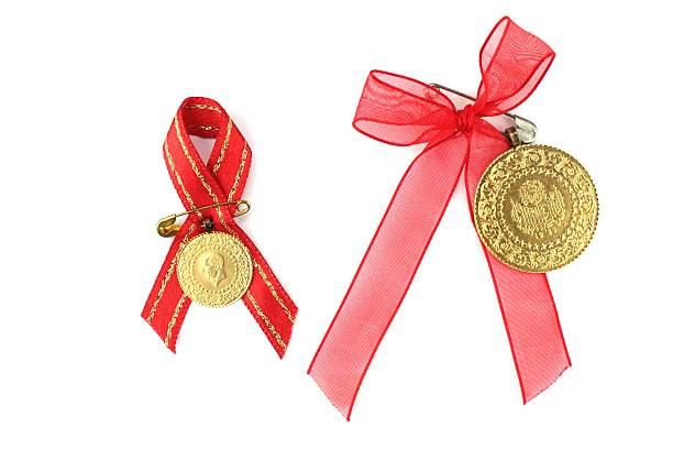 Turkish Traditional Gold Coin With Red Ribbon Stock Photo Istock