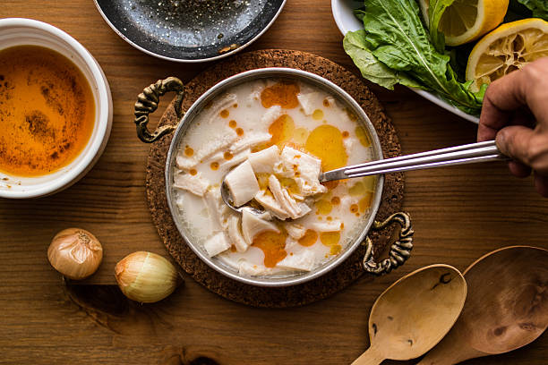 Turkish Traditional Tripe Soup / iskembe corbasi. - foto de acervo
