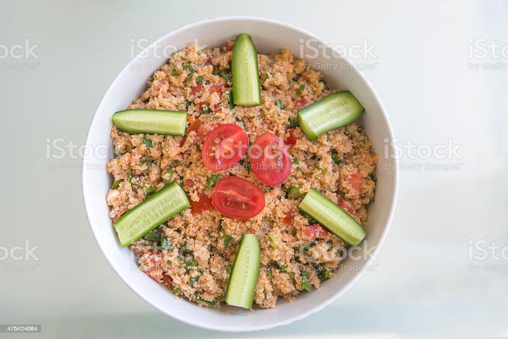 turkish traditional vegeterian taboule salad in turkey stock photo