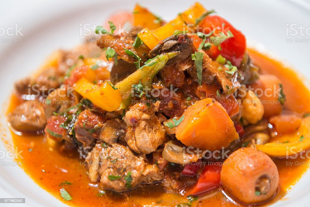 Turkish Traditional Yahni meat and vegetables stew stock photo