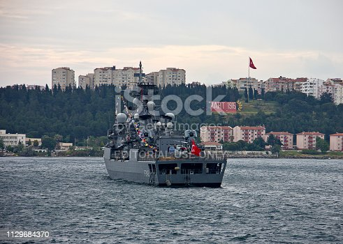 Canakkale, Turkey - May 17, 2017: View of canakkale bosphorus with a warship of the Turkish Navy, which protect the bosphorus.