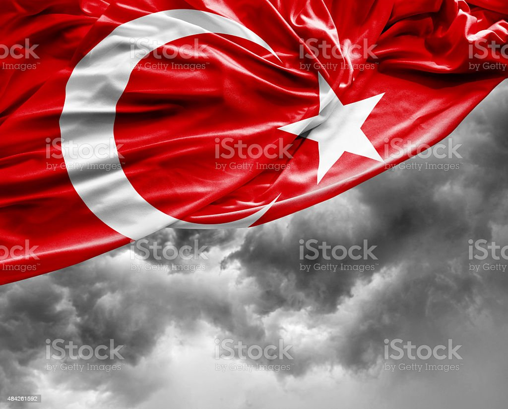Turkish waving flag on bad day stock photo