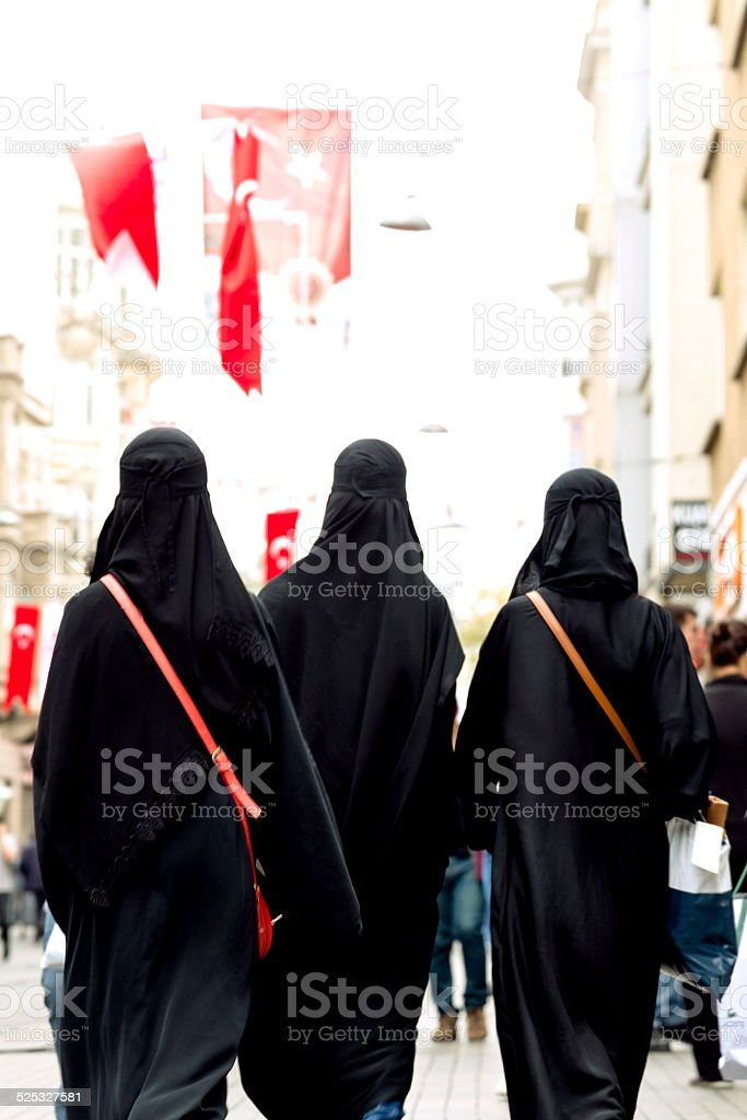 Turkish Women Wearing Burqa stock photo