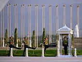 istock Turkmen goose stepping soldiers, Neutrality Monument, Ashgabat, Turkmenistan 1298975607