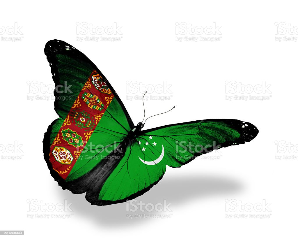 Turkmenistan flag butterfly flying, isolated on white background stock photo