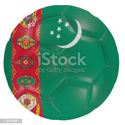 istock Turkmenistan flag on a soccer ball 1193506811