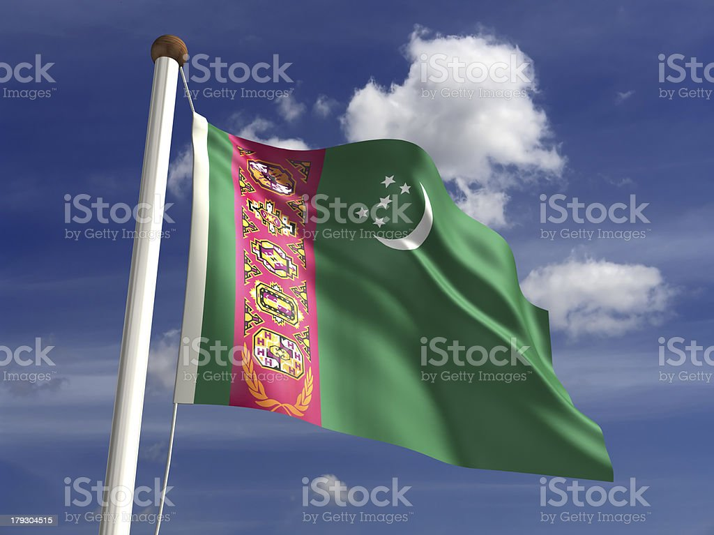 Turkmenistan flag (with clipping path) stock photo