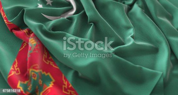 istock Turkmenistan Flag Ruffled Beautifully Waving Macro Close-Up Shot 675816318