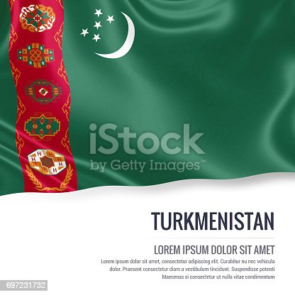 istock Turkmenistan flag. Silky flag of Turkmenistan waving on an isolated white background with the white text area for your advert message. 3D rendering. 697231732