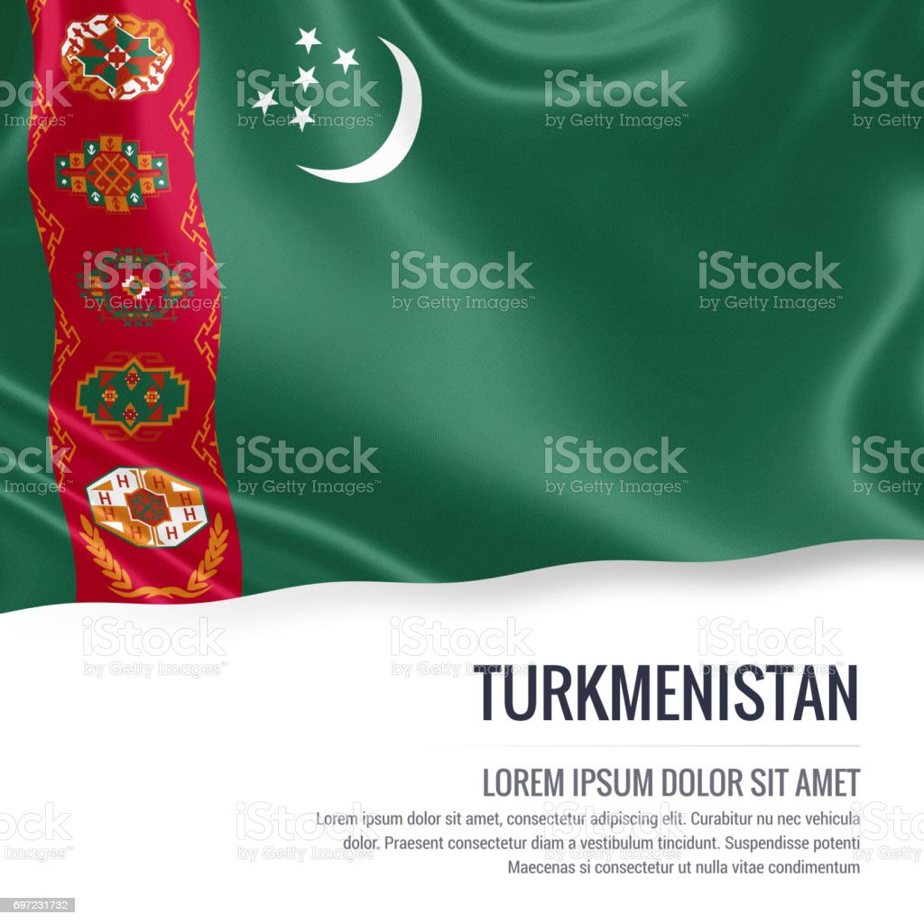 Turkmenistan flag. Silky flag of Turkmenistan waving on an isolated white background with the white text area for your advert message. 3D rendering. stock photo