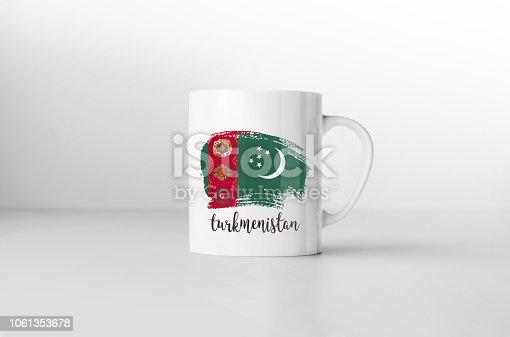 istock Turkmenistan flag souvenir mug on white background. 3D rendering. 1061353678
