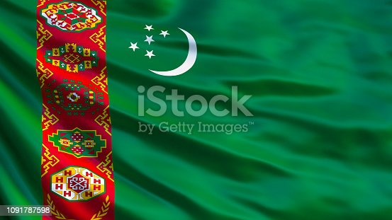 istock Turkmenistan flag. Waving flag of Turkmenistan 3d illustration. Ashgabat 1091787598