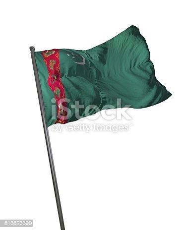 istock Turkmenistan Flag Waving Isolated on White Background Portrait 813823390