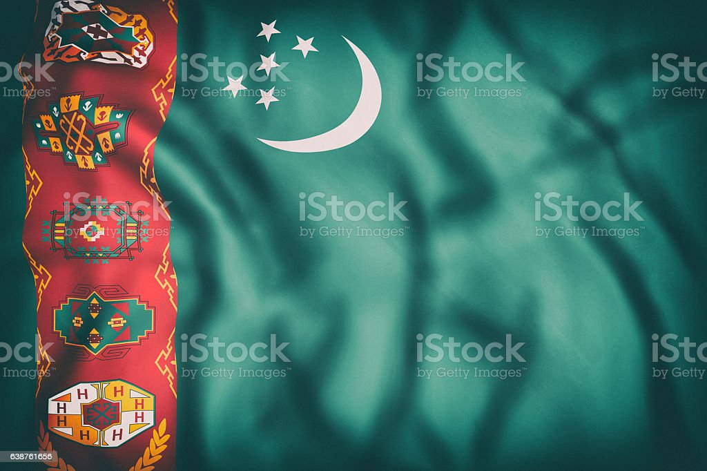 Turkmenistan flag waving stock photo