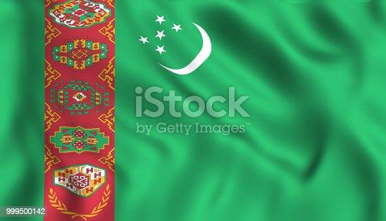 istock Turkmenistan flag waving symbol 999500142