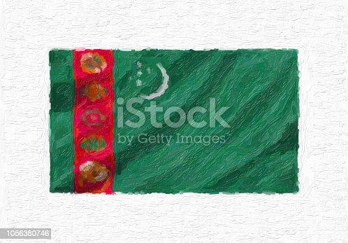 istock Turkmenistan hand painted waving national flag, oil paint isolated on white canvas, 3D illustration. 1056380746