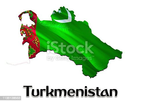 istock Turkmenistan Map Flag. 3D rendering Turkmenistan map and flag on Asia map. The national symbol of Turkmenistan. Ashgabat flag on Asia background. National Turkmenistan waving flag colorful
