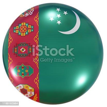 istock Turkmenistan national flag button 1199183984