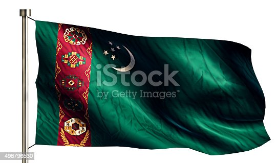 istock Turkmenistan National Flag Isolated 3D White Background 498796530