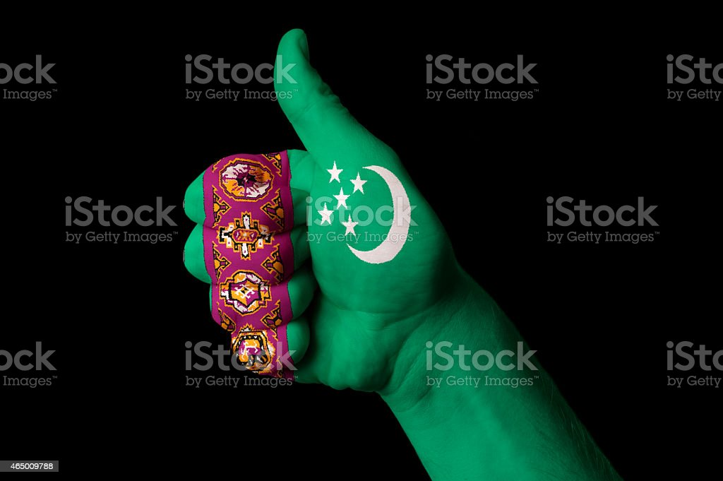 turkmenistan national flag thumbs up gesture for excellence stock photo
