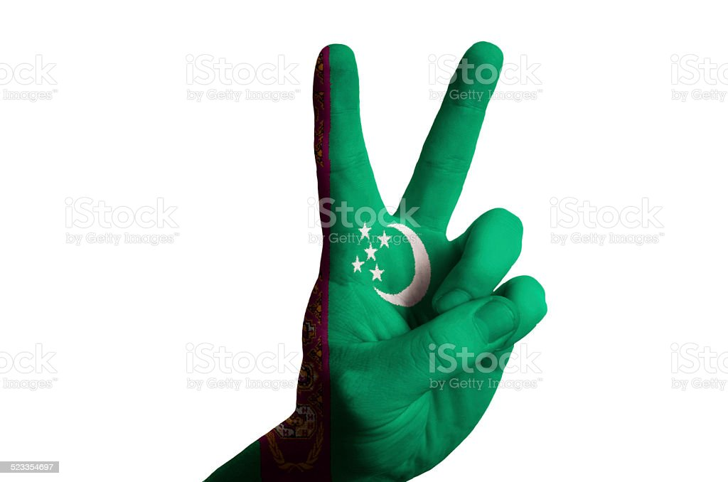 turkmenistan national flag two finger up gesture for victory stock photo