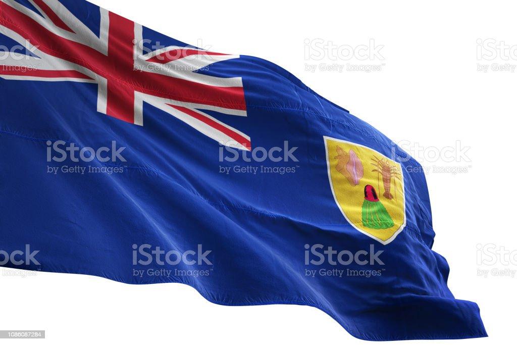 Fondo Blanco Aislado Que Agita Cerca De La Bandera De Islas Turcas