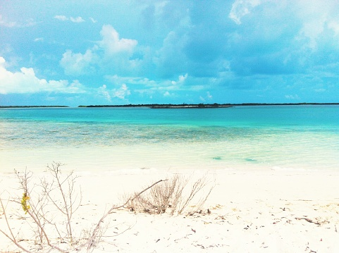 Beautiful white sand and crystal clear water in Turks and Caicos