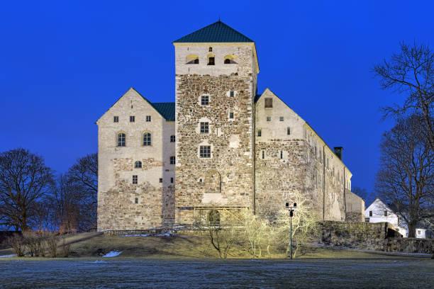 Turku Castle in dusk, Finland stock photo