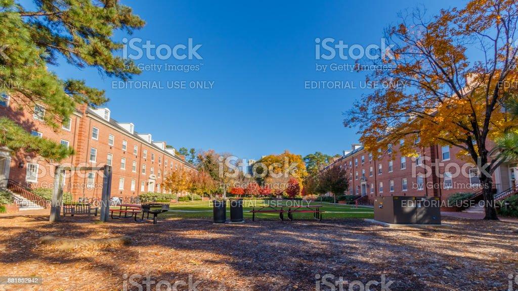 Turlington Hall and Alexander Hall at NC State University stock photo