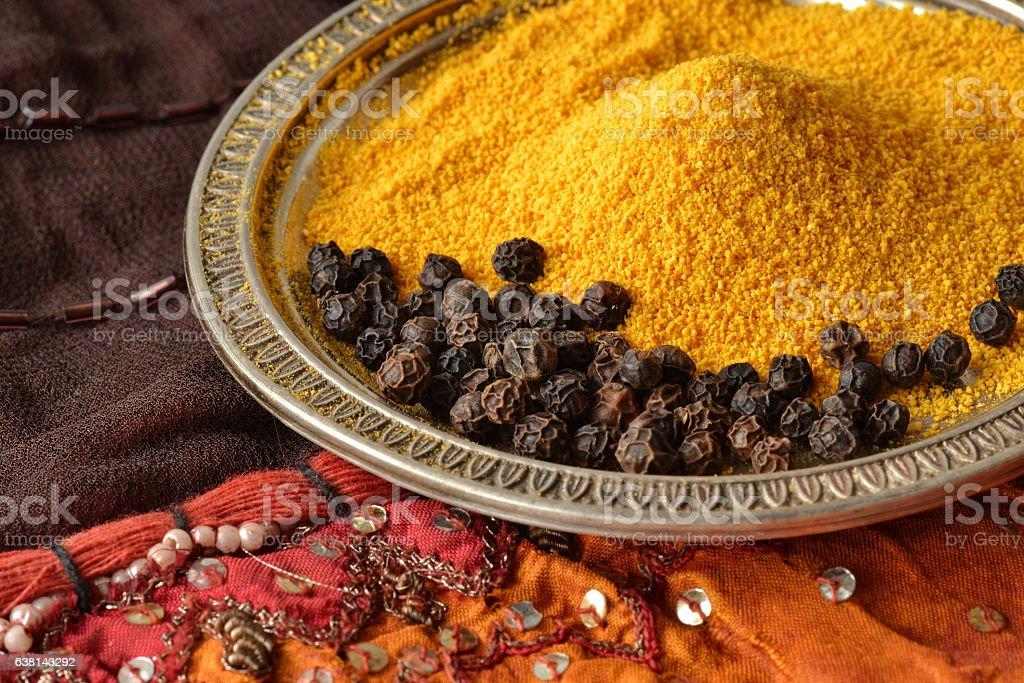 Turmeric and black pepper stock photo