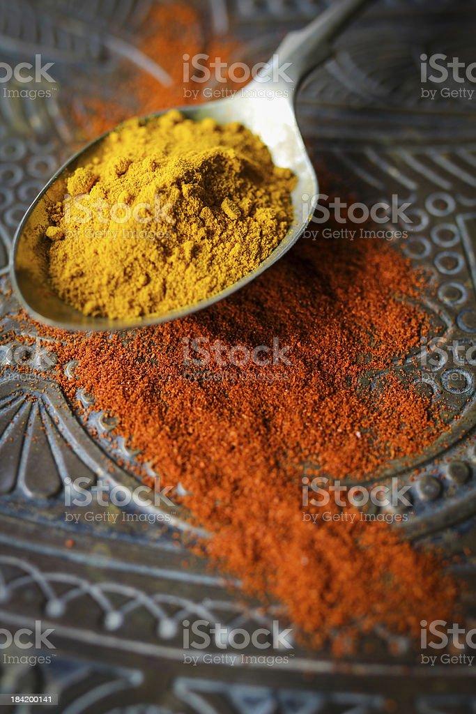 Turmeric and Chilli powder royalty-free stock photo
