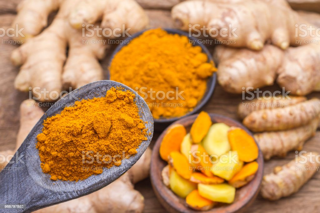 turmeric and ginger on the table stock photo