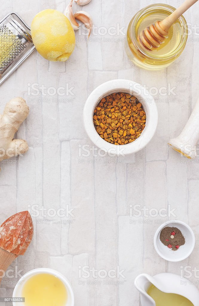 Turmeric and ginger tea stock photo