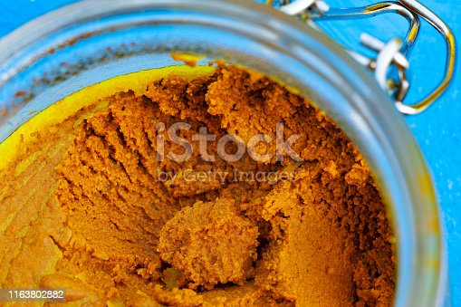 Anti-inflammotory paste made from turmeric, coconut oil and black pepper in a glass jar.