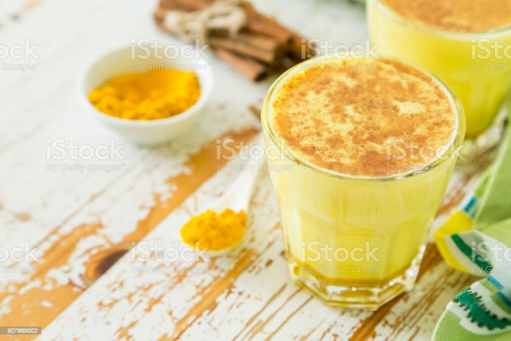 Turmeric drink - golden mild stock photo