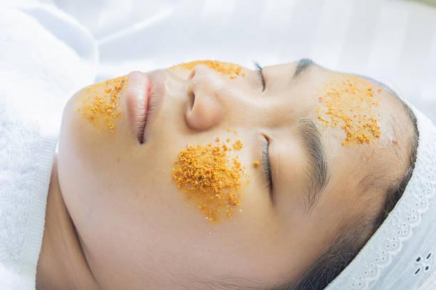 Turmeric Facial Massage and Tamarind Ingredients stock photo