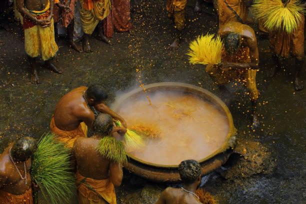 Turmeric hot bath ritual stock photo