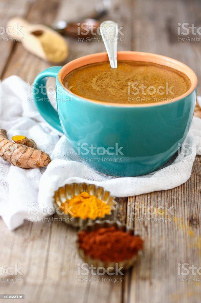 Turmeric Hot Chocolate stock photo