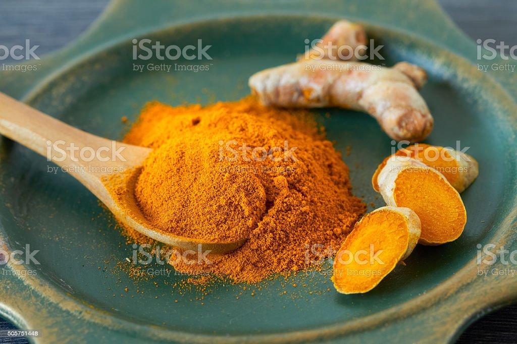 Turmeric Turmeric root and turmeric powder , close up Alternative Therapy Stock Photo