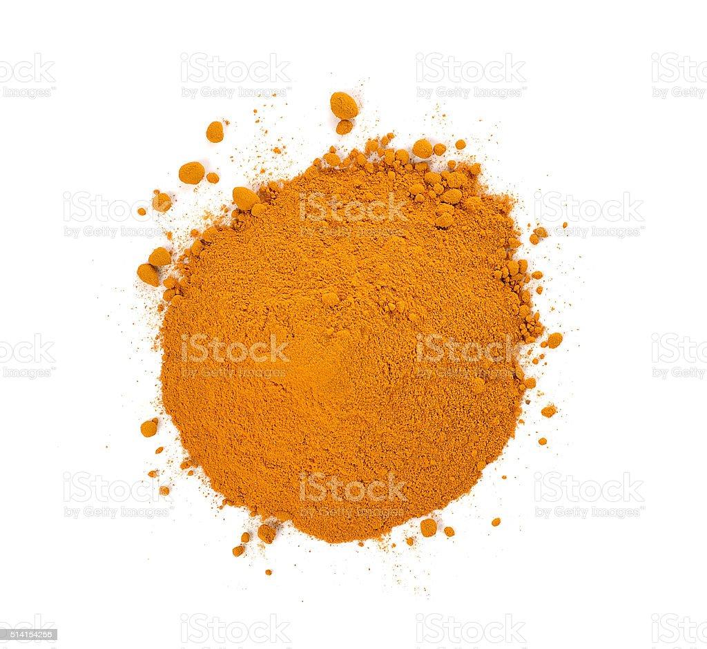 turmeric powder isolated on white background. stock photo