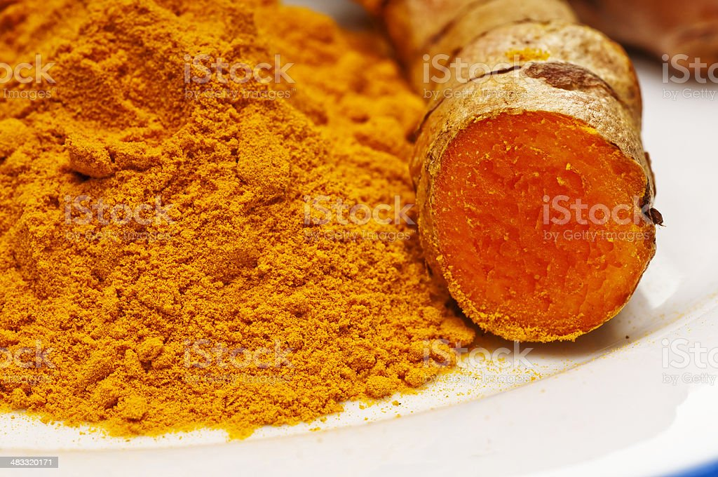 turmeric, root and powder stock photo