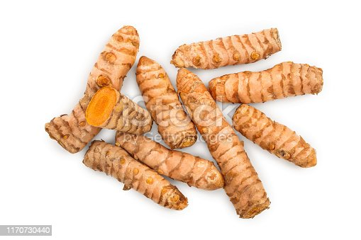Turmeric root isolated on white background. Top view. Flat lay.