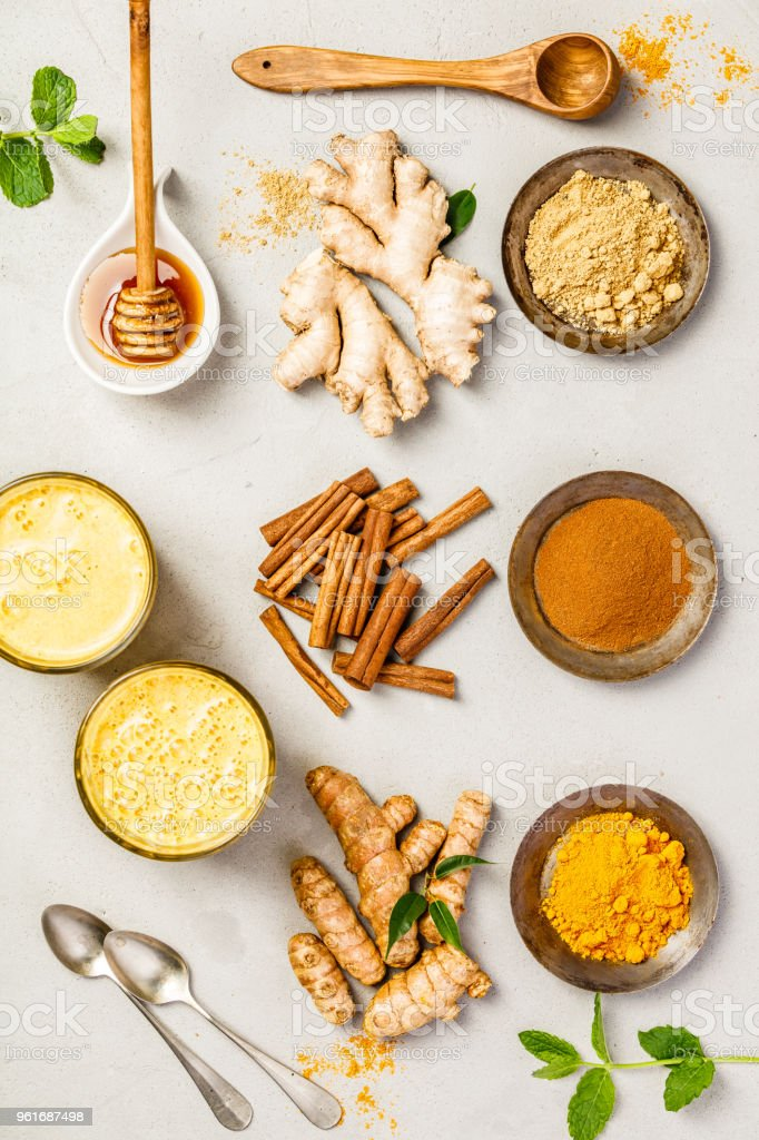 turmeric tea or golden turmeric latte stock photo