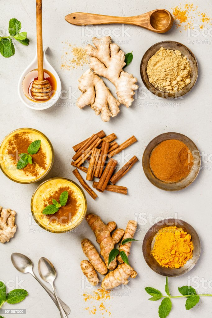 turmeric tea or golden turmeric latte stock photo