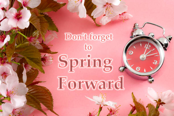 Turn clocks on hour ahead, star of daylight savings time change and reminder to spring forward concept with clock on pink background with springtime flowers and text - Don't forget to spring forward Turn clocks on hour ahead, star of daylight savings time change and reminder to spring forward concept with clock on pink background with springtime flowers and text - Don't forget to spring forward daylight savings stock pictures, royalty-free photos & images