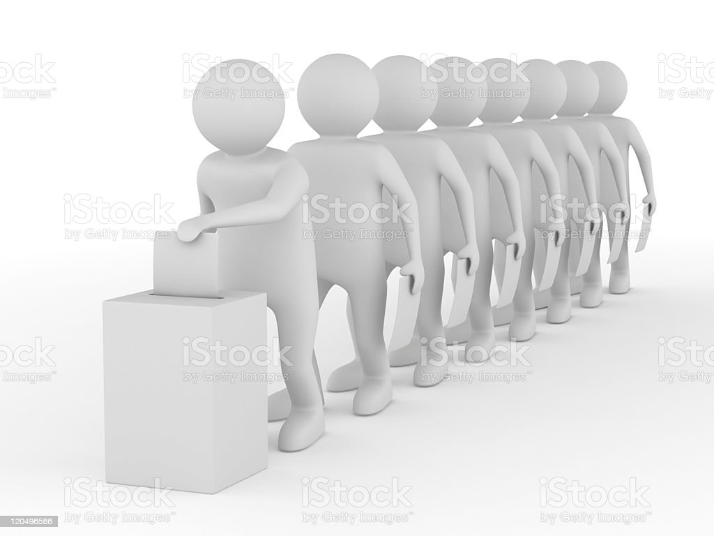 Turn for voting on white. Isolated 3D image royalty-free stock photo