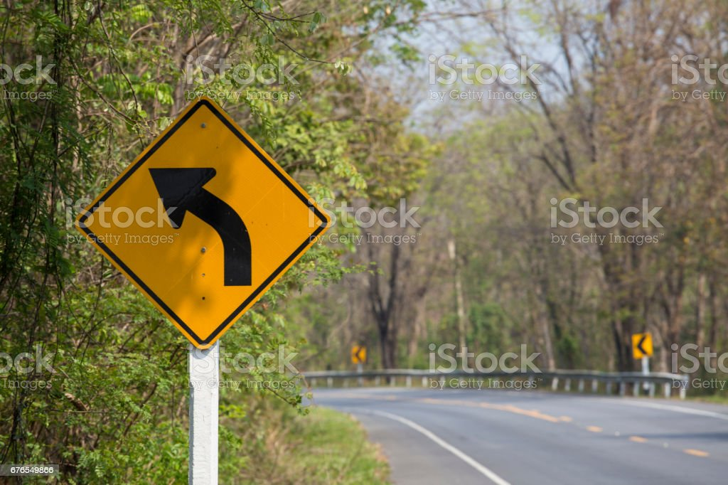 Turn left sign. stock photo