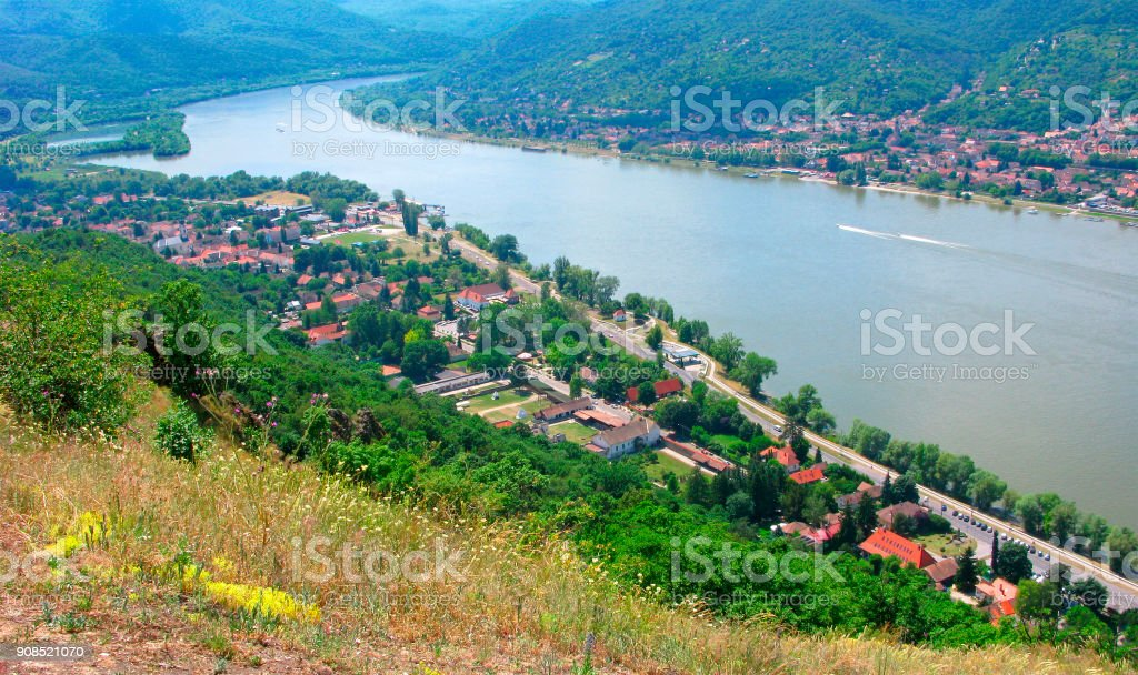 Turn of Danube river, top view from Visegrad castle stock photo
